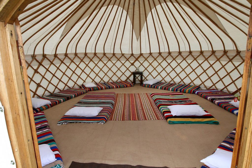 Hired Roundhouse Yurts are perfect for sleepovers. or Glamping weekends.