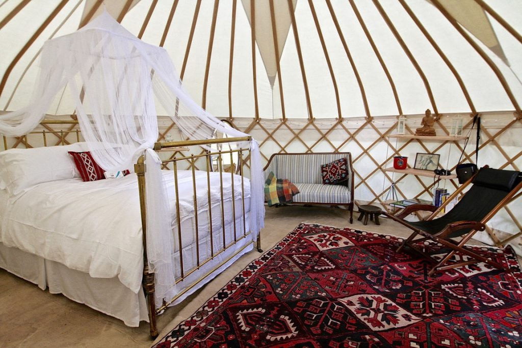 A Roundhouse Yurt with a stylish wedding night interior.