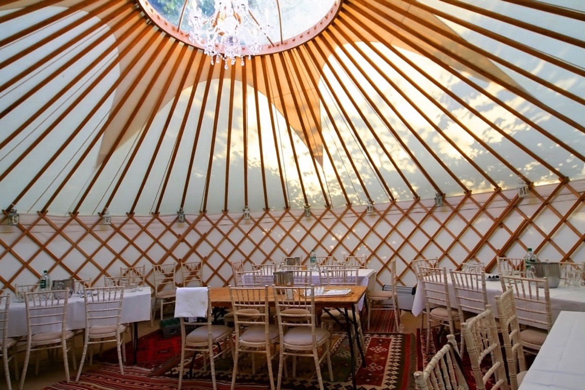 Luxury Interior Dining Package for a hired Roundhouse Yurt.