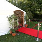 VIP entrance to a luxury yurt with a dining package interior.