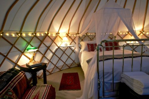 Glamping with our luxury interior package for our Yurt Hire.