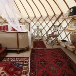 Luxury wedding night interior of a Roundhouse Yurt.