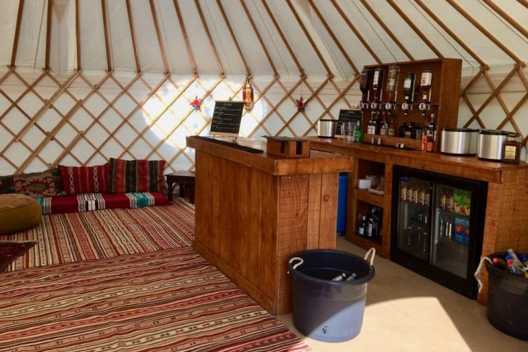 A Roundhouse Yurt Bar is an available option with a hire yurts.