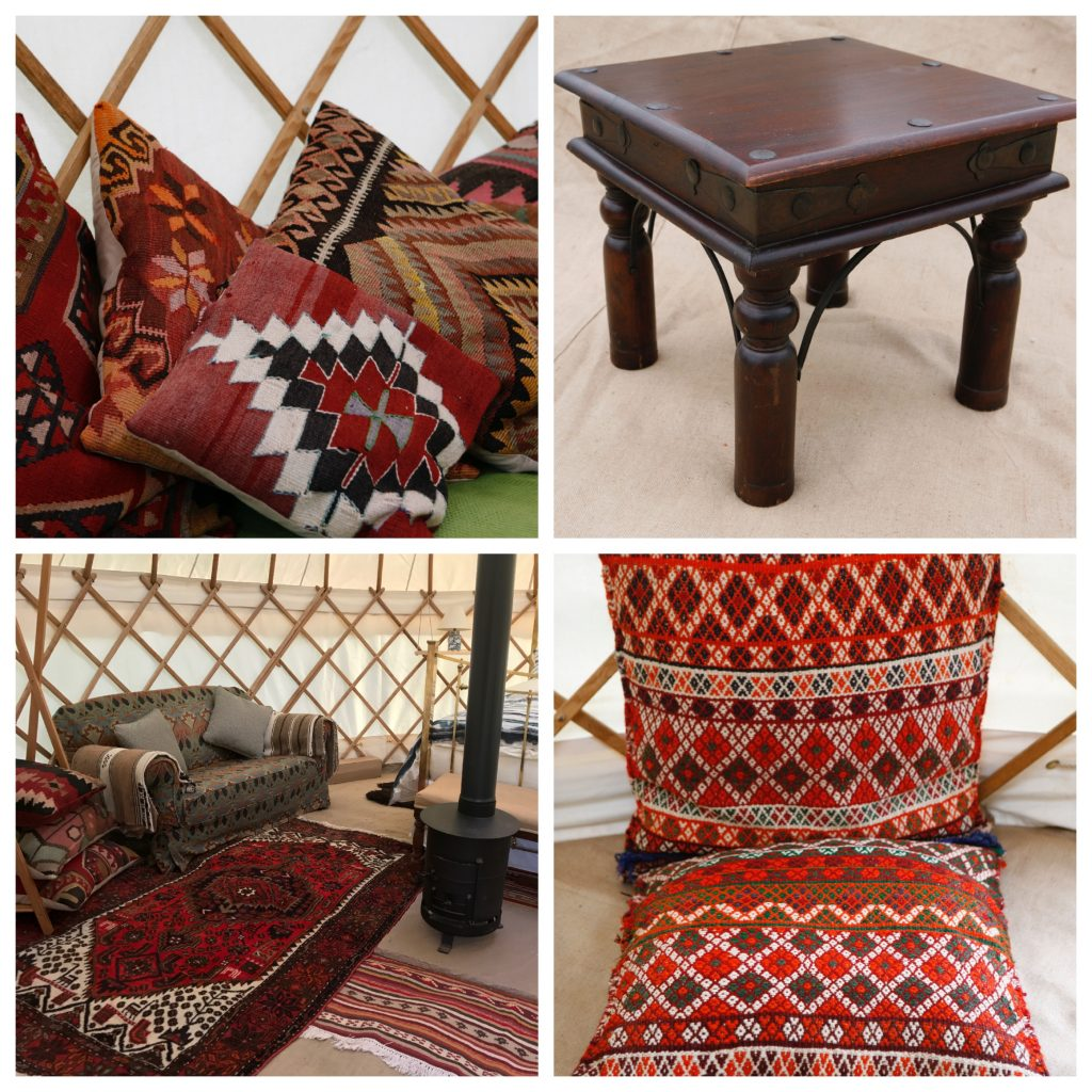 Roundhouse Yurt interior options from Persian and Kilim Rugs.