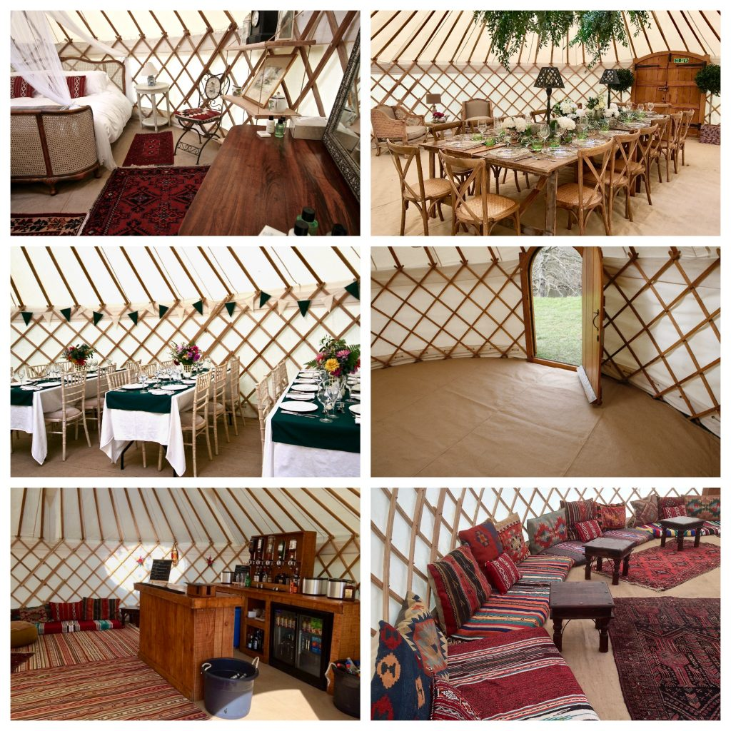 A collection of Roundhouse Yurt interior options whilst hiring a Yurt.