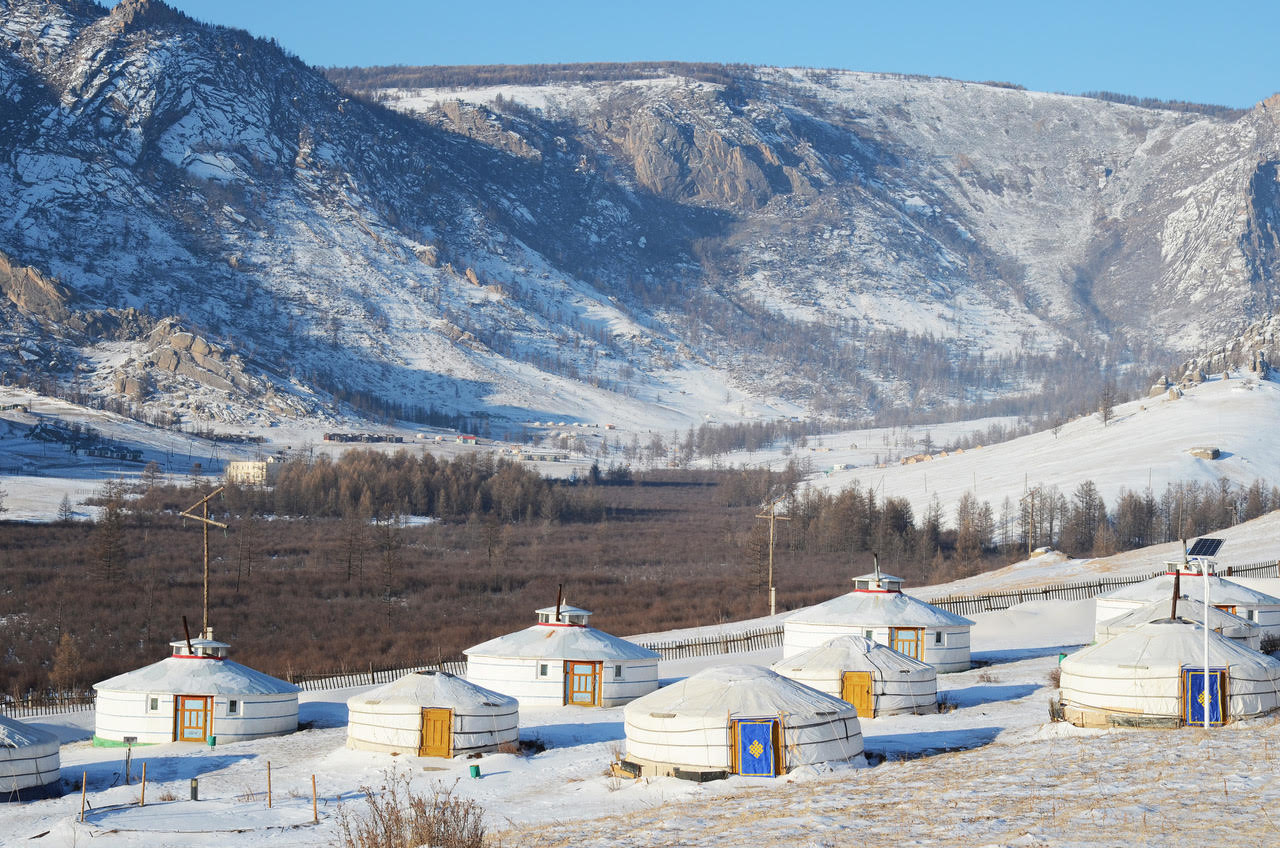 A traditional yurt village in Mongolia.