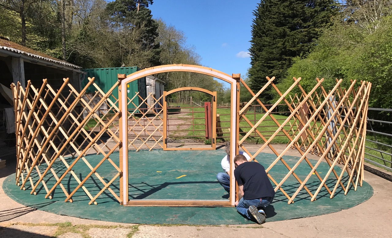 First fitting of yurt frame
