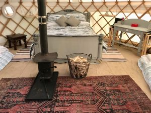 Glamping yurt accommodating a family of four